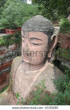 Grand Buddha statue in Leshan, China - stock photo