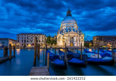 Grand Canal and Basilica di Santa Maria della Salute, Venice  - stock photo