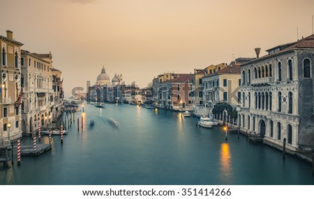 Grand Canal and Basilica Santa Maria della Salute during sunset, Venice, Italy - stock photo