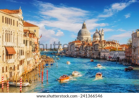 Grand Canal and Basilica Santa Maria della Salute, Venice, Italy - stock photo