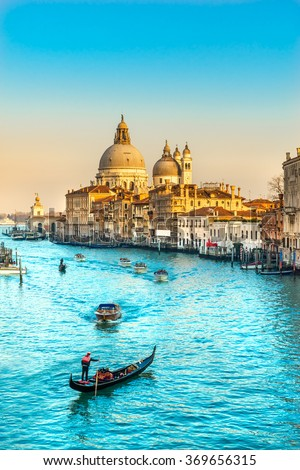 stock photo grand canal and basilica santa maria della salute venice italy 369656315 - Каталог — Фотообои «Венеция»