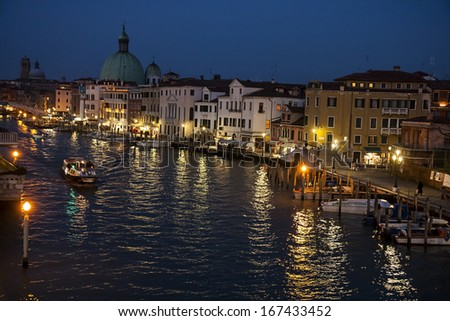Grand Canal and Basilica Santa Maria della Salute, Venice, Italy in the night