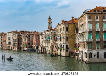 Grand Canal and city skyline , Venice , Italy - stock photo