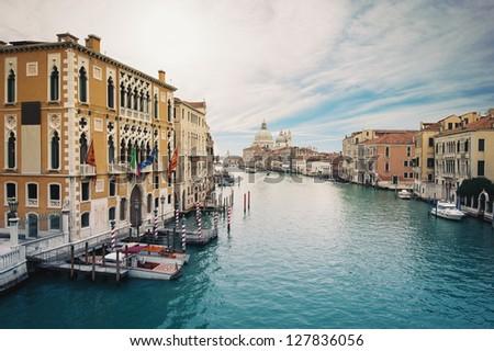 Grand canal and Santa Maria della Salute, Venice, Italy. - stock photo