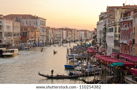 Grand Canal at dusk, Venice, Italy - stock photo