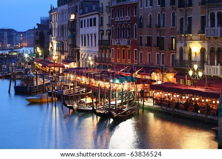 Grand Canal at nigh in Venice, Italy - stock photo