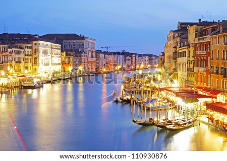 Grand Canal at night taken in Venice , Italy