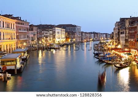 Grand canal at night, Venice, Italy. - stock photo