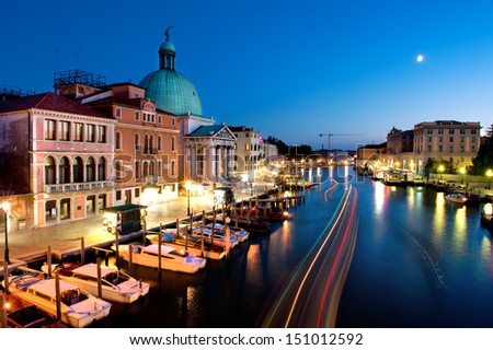 Grand Canal at night, Venice. San Simeone Piccolo church with its dome. - stock photo