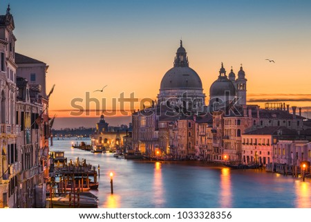 Grand Canal at night with Basilica Santa Maria della Salute, Venice, Italy