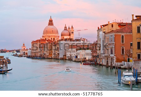 Grand canal at sunset, Venice - stock photo