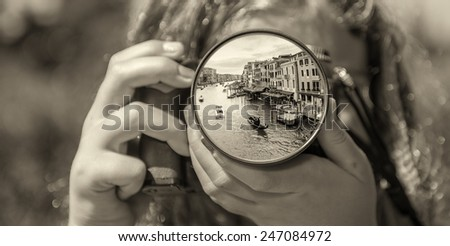 Grand Canal in Venice from the eyes of a little girl. - stock photo