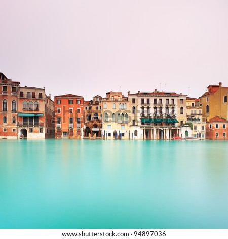 Grand Canal in Venice in a long exposure photography. - stock photo