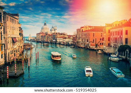 stock photo grand canal in venice italy color toning used 519354025 - Каталог — Фотообои «Венеция»