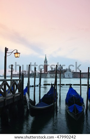Grand canal of Venice at dusk. - stock photo