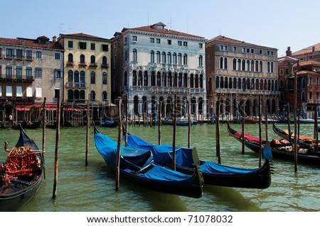 Grand canal of Venice with gondolas, Italy - stock photo