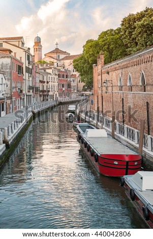 Grand Canal scenery in antique Venice - stock photo