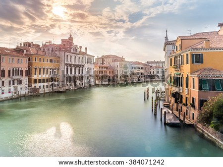 Grand Canal scenery in antique Venice, Italy - stock photo