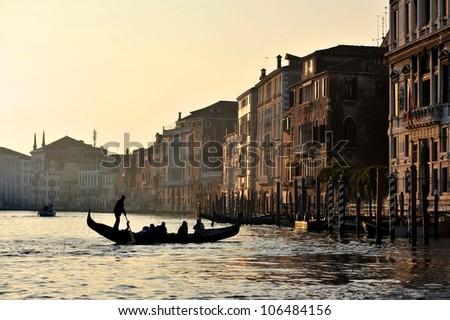Grand Canal sunset, Venice - stock photo