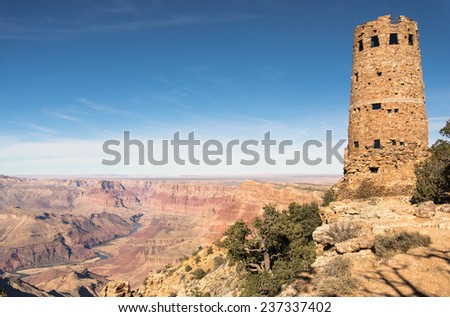 Grand Canyon and Colorado river as viewed from Desert view watchtower on the South Rim - stock photo