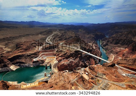 GRAND CANYON, ARIZONA, AZ, USA: A panoramic view of Hoover Dam and the Colorado River Bridge in the Grand Canyon National Park - stock photo