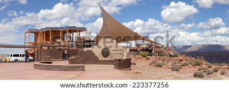 Grand Canyon, Arizona, USA - September 21, 2014: Visitor center at Guano Point, along the western rim, named for the Bat Cave guano mine at the Grand Canyon, Arizona, USA on September 21, 2014.