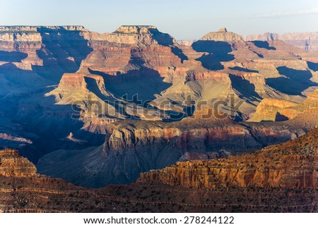 Grand Canyon at Mathers point in sunset light - stock photo