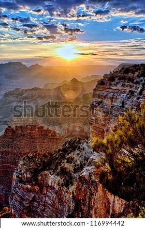 Grand Canyon at sunrise in september - stock photo