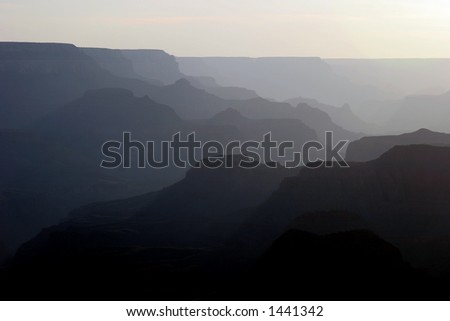 Grand Canyon captured at sunset from South Rim.
