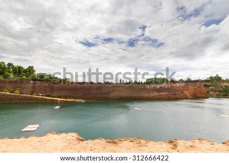 Grand canyon chiang mai, Formerly it is  pond, Now as a tourist attraction For diving and swimming. - stock photo