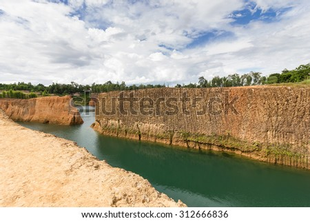 Grand canyon chiang mai  Quarry, Formerly it is  pond, Now as a tourist attraction For diving and swimming. - stock photo