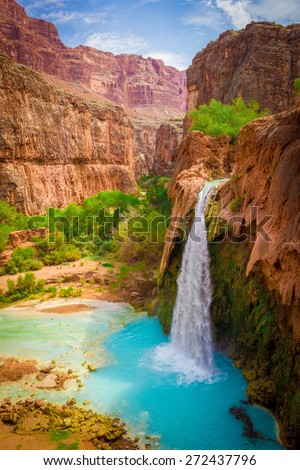 Grand Canyon, Havasupai Indian Reservation, amazing havasu falls in Arizona - stock photo