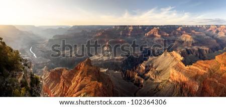 Grand Canyon,  Hopi Point,Sunset, Panorama - stock photo