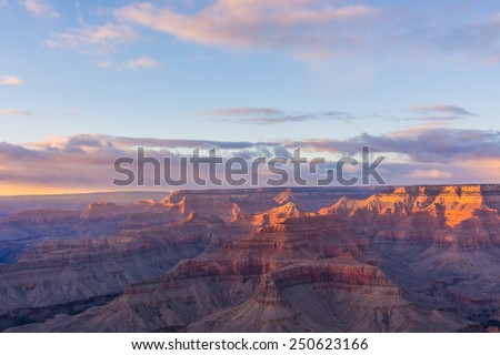 Grand Canyon in Arizona, USA during sunset - stock photo