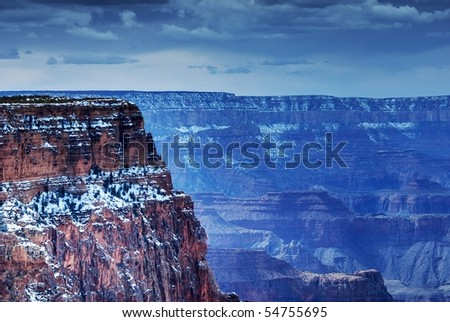 Grand Canyon in winter - stock photo