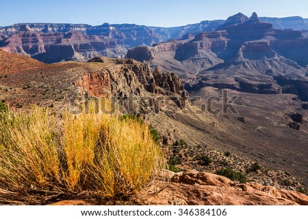 Grand Canyon Landscape Overview on South Kaibab Trail - stock photo