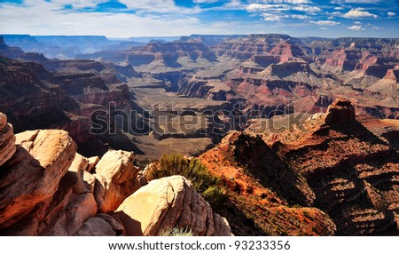 Grand canyon landscape view with rocks in foreground - stock photo