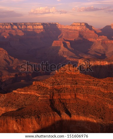 Grand Canyon National Park, Arizona, one of the wonders of the world/ grand canyon/ Sunrise or sunset, along the rims of the Grand Canyon, are the best times to get the color and depth of this gorge.  - stock photo