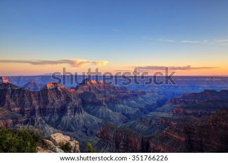 Grand Canyon National Park at sunset - stock photo