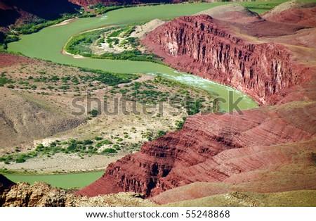 grand canyon national park colorado river landscape, arizona, usa - stock photo