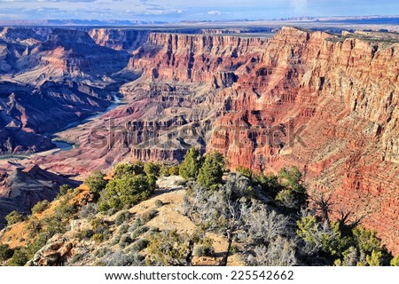 Grand Canyon National Park in Arizona, United States. Navajo Point view. HDR image. - stock photo