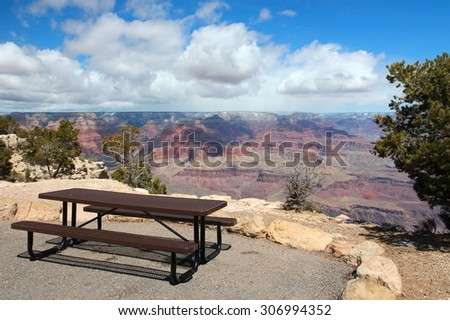 Grand Canyon National Park landscape in Arizona, United States. Hopi Point bench and picnic table. - stock photo