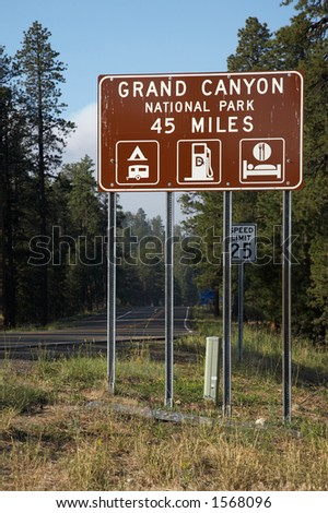 Grand Canyon National Park Road Sign - stock photo