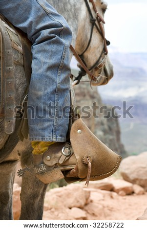 Grand Canyon National Park trail guide on muleback.  Leg, stirrups and custom spur. - stock photo