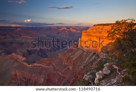 Grand Canyon National Park USA, South Rim at Sunset - stock photo