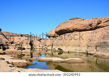 Grand canyon of Thailand,rock hole stone in Mekong river - stock photo