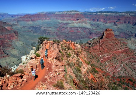 Grand Canyon on a sunny day with blue sky - stock photo