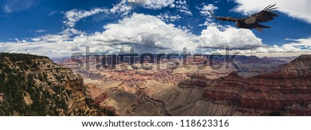 Grand Canyon overwhelms our senses through its immense size - stock photo