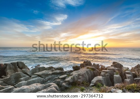 Grand Canyon Pancake Rocks Punakaiki at sunset seen from the lookout, West Coast, South Island, New Zealand - stock photo