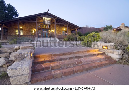 GRAND CANYON, USA - AUGUST 30: Lodge on August 30, 2007 in Grand Canyon: Entrance to the Bright Angel Lodge. Designed in 1935, the Lodge is a neuralgic point of activity in the South Rim.